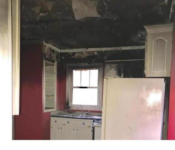 kitchen with fire damage